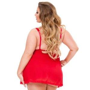 Lovehoney Plus Size Love Me Red Lace Open Cup Babydoll Set